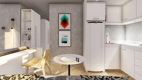 Concurso Agisa-Todeschini: Imagem da sala de estar e cozinha integradas. As cores claras ampliam o espaço. A cozinha conta com cooktop integrado à bancada. O mobiliário solto pode ser facilmente movido, tornando o espaço multiuso.