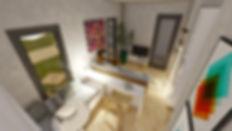 projeto de sala e estar integrada com a cozinha. pequenos espaços