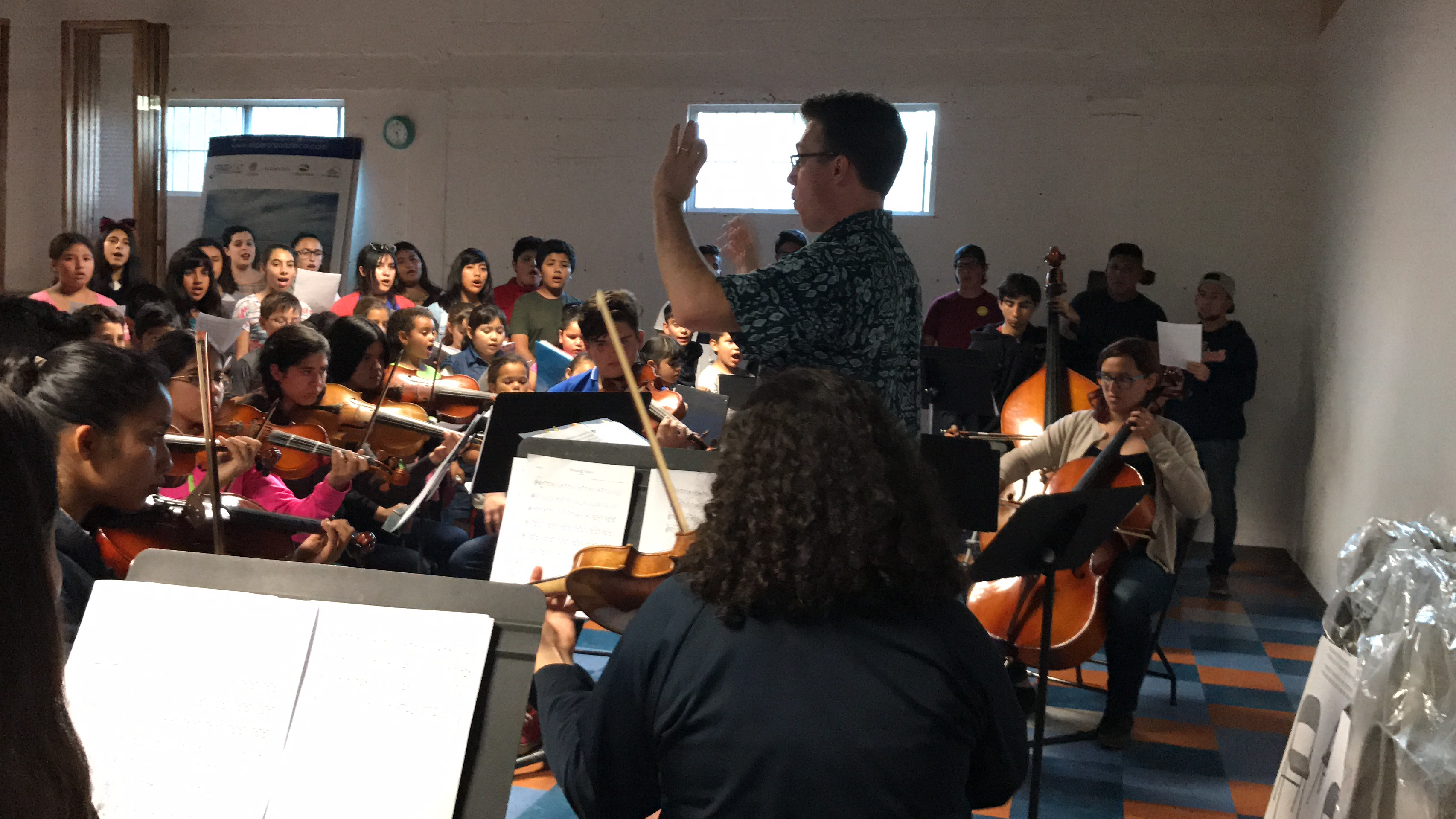 Rehearsal with orchestra