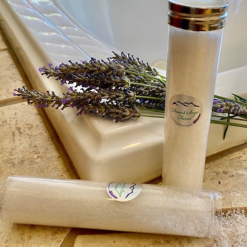 Bath salts with essential oils of lavender, sage, eucalyptus & rosemary