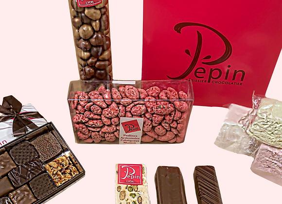 Box assortiment de chocolats et confiseries