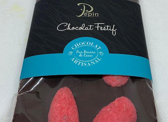 Tablette chocolat - Noir et  pralines roses