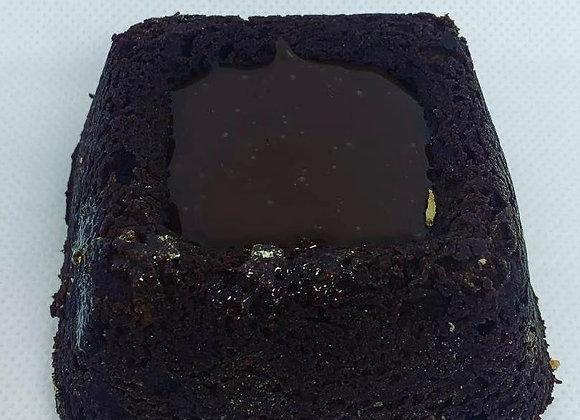 Brownie coulis caramel