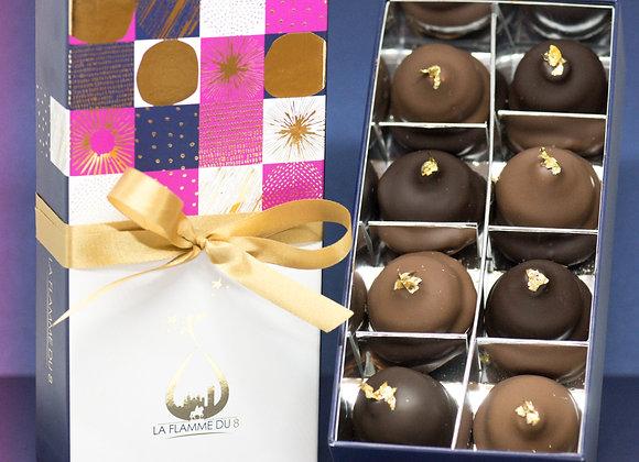 """15 Coffrets chocolat noir, lait ou les deux """" La Flamme du 8"""" / CE"""
