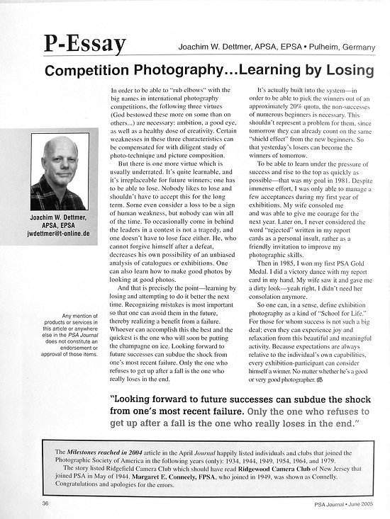 Competition Photography, learning by losing