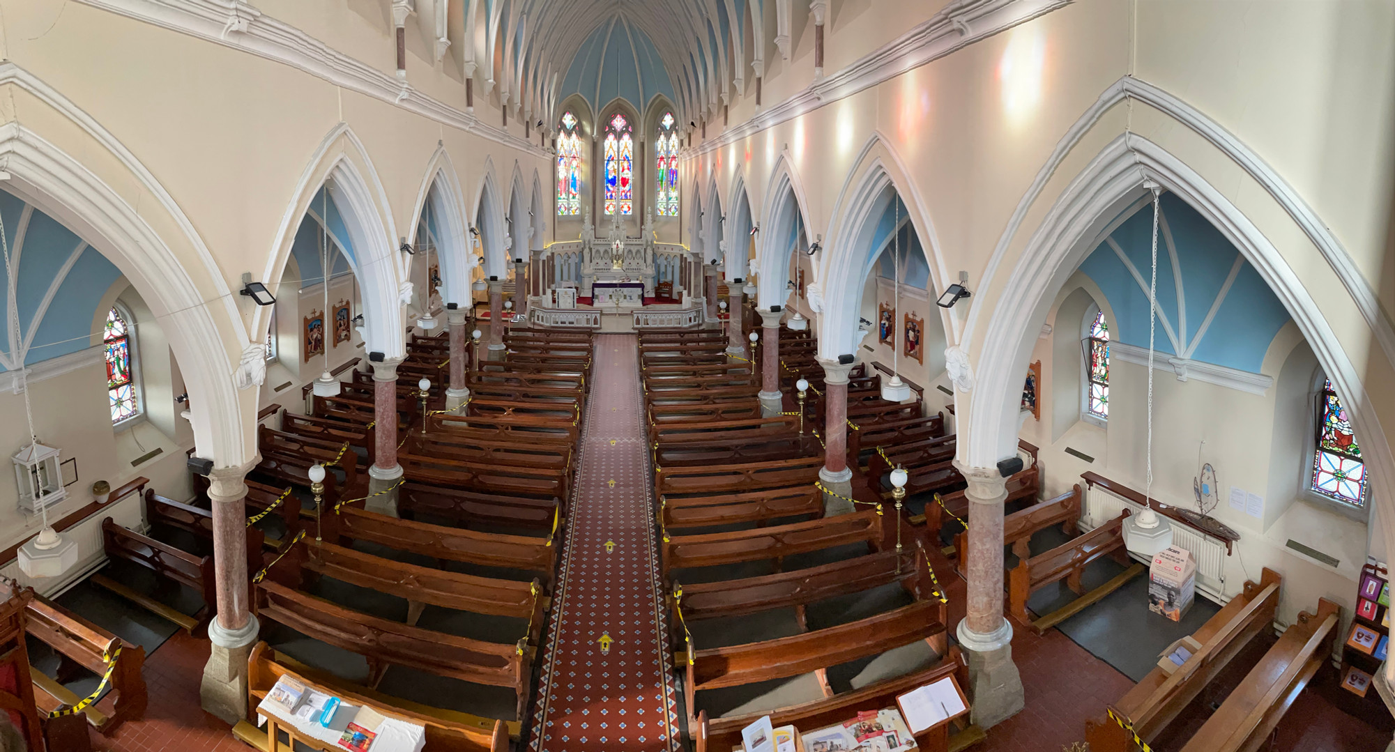 A panorama of the inside of the church.