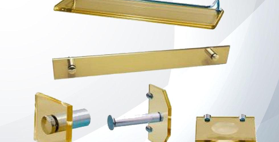 Kit Vidreo Luxo Retangular Vidro Dourado