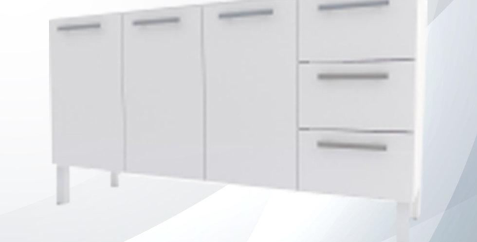 Gabinete Vênus Aço 1.50m Branco 3 Gavetas - Cozimax