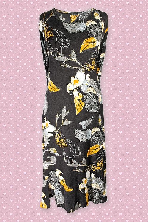 Pomodoro 'Melange' Etched Black, Yellow & Grey Leaf Print Dress
