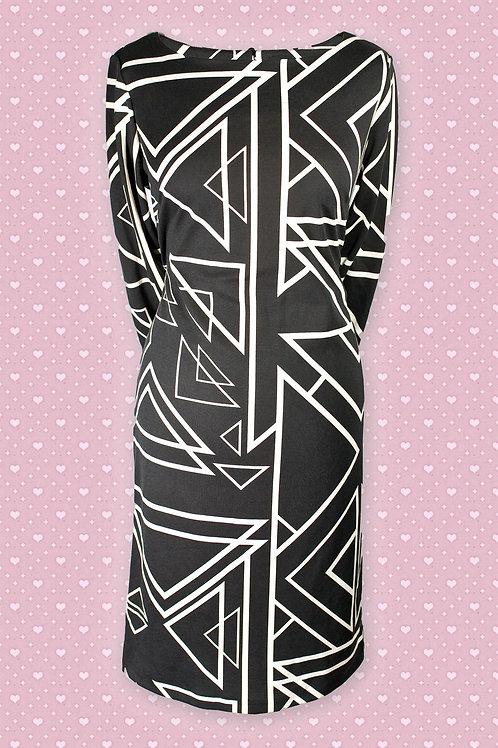 Pomodoro Black & White Geometric Print Dress