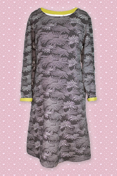 Adini Long Sleeve Black & Green 'Debra' Fossil WeaveDress
