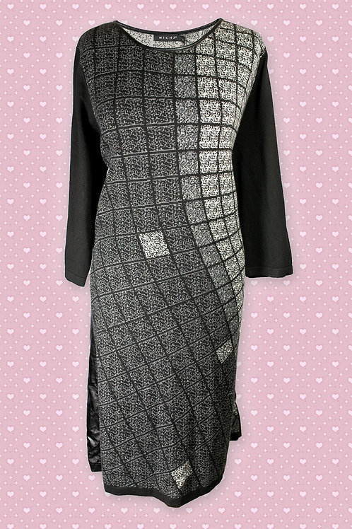 Micha 'Leather Look' Wool Blend, Black & Grey Tunic Dress