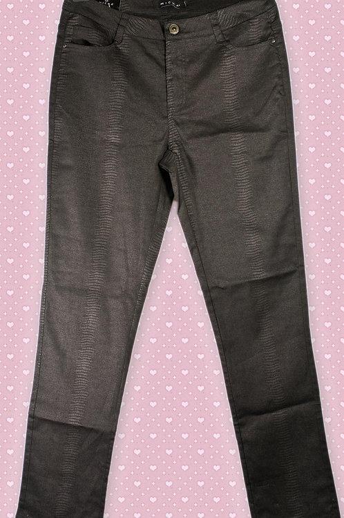 Micha 'Stretch' Snakeskin Style Black Jeans