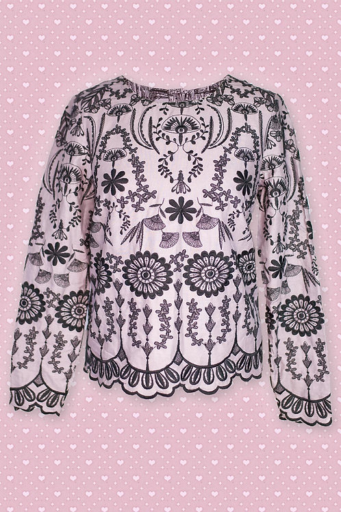 Thought 'Isabella' Grey & Black Floral Print Tunic
