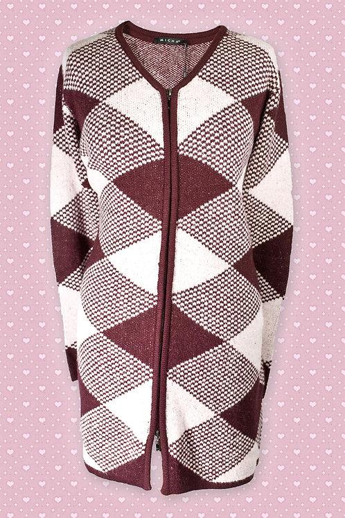 Micha Diamond Pattern Aubergene & Pink Acrylic Zip-Front Cardigan