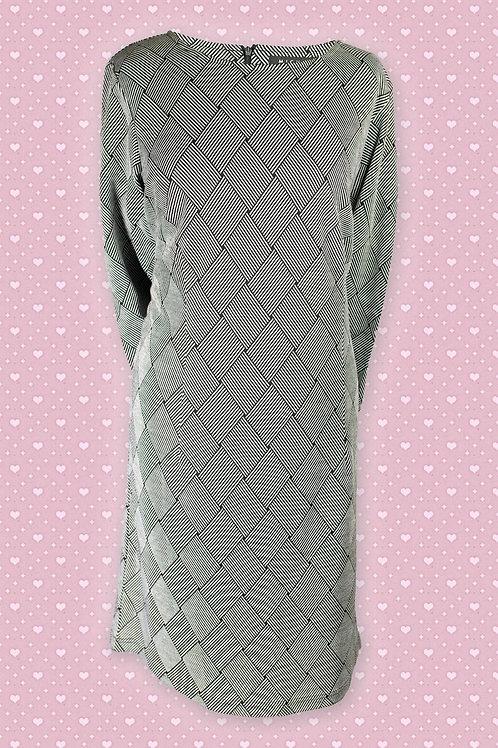 Micha 'Pris' Grey & Black Striped Woven Pattern Dress