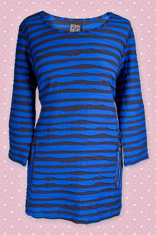 Pont Neuf Blue & Black Striped Tunic
