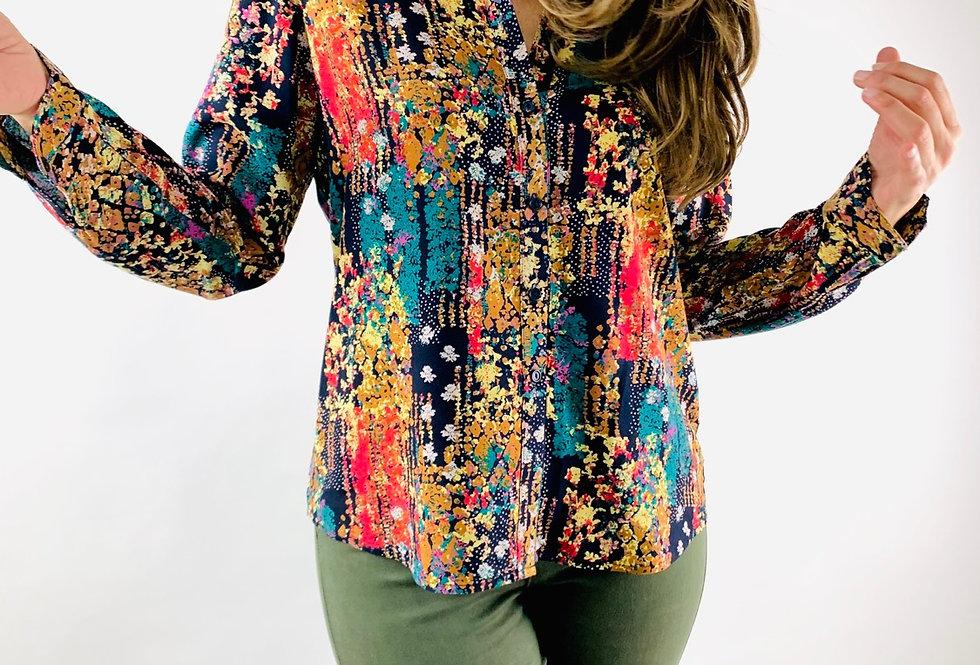 Camisa flores multicolor. CA003