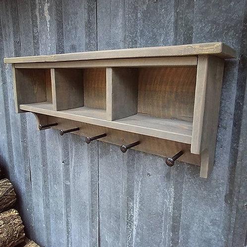 Rustic Modern Shelf Cubby Coat Rack