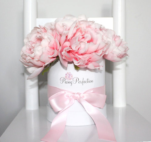 Mini White Box of 6 Flamingo Pink Peonies