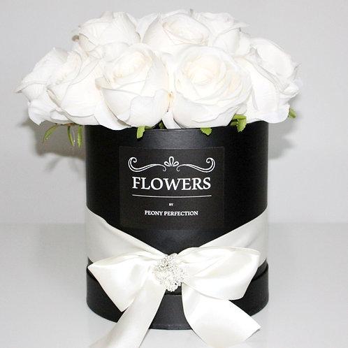 Luxury White Roses in Black Round Box