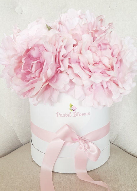 Giant Pink Peonies in Flower Box