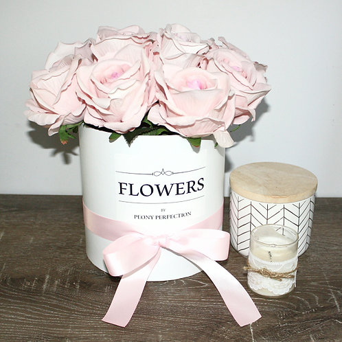 Pink Real Touch Roses in White Box