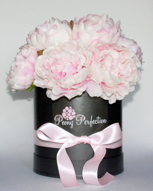 Dusty Pink Peonies in Black Round Box (Pink Ribbon)