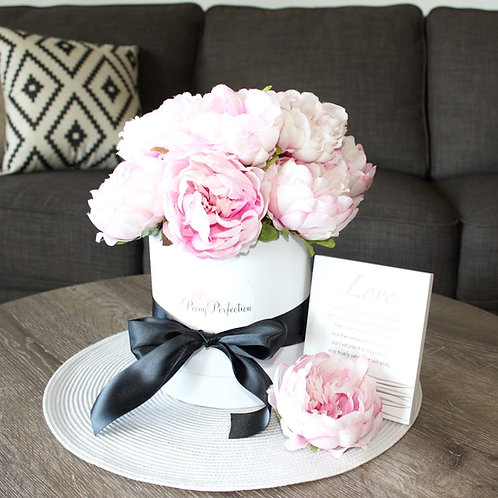 Dusty Pink Peonies in White Round Box (Black Ribbon)