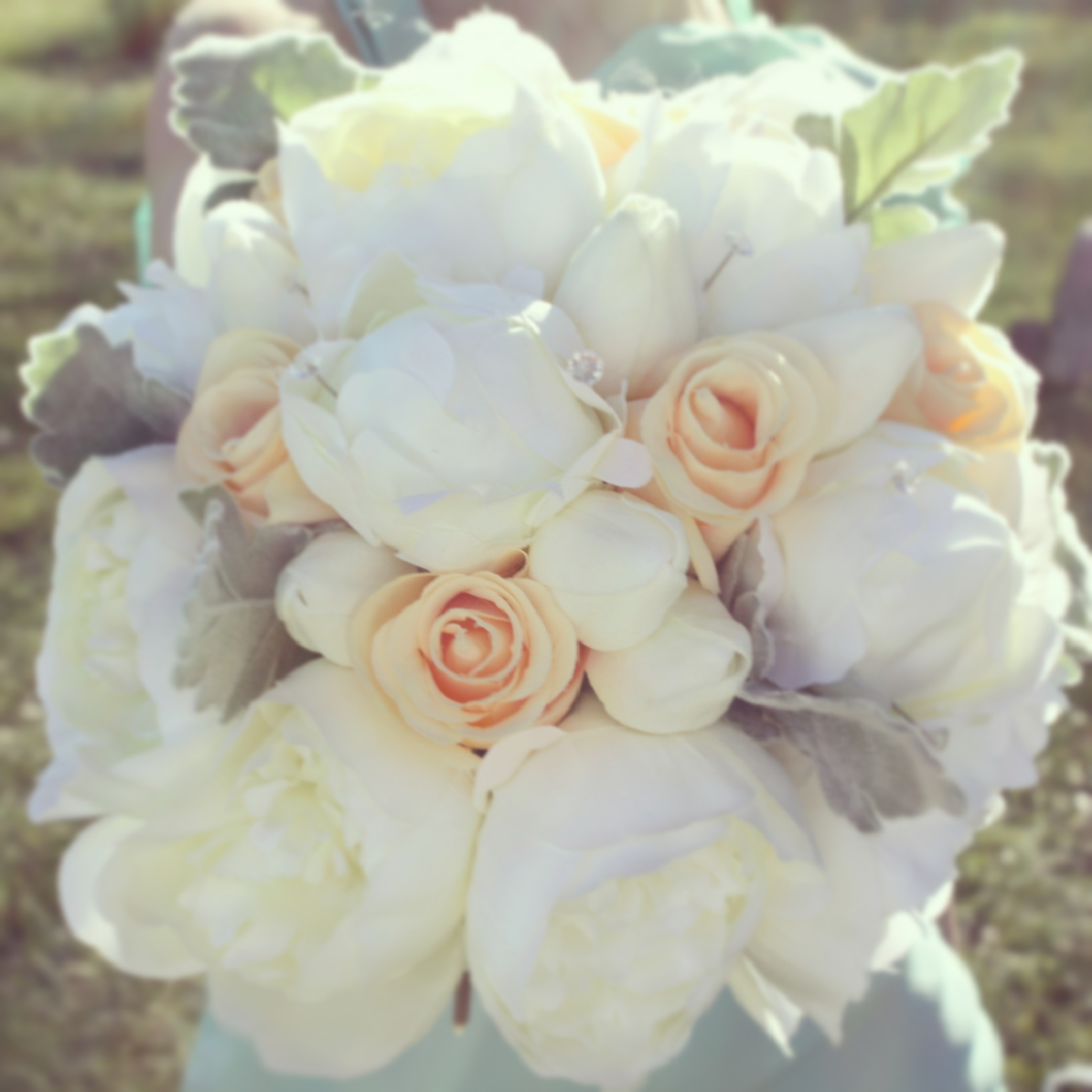 Peonies, Peach Roses + Dusty Miller