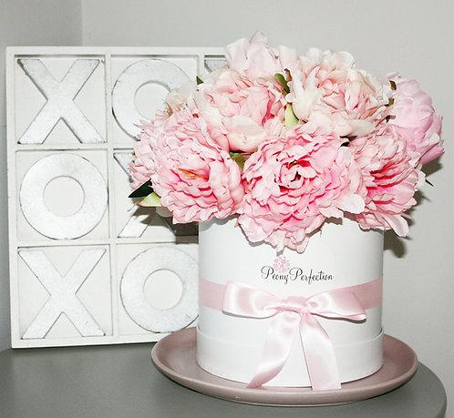 Flamingo Pink Peonies in White Box (Pink Ribbon)