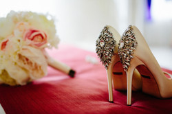 Kelly's bridal shoes & peony bouquet