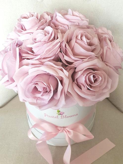 Pastel Pink Purple Roses in White Box