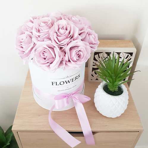 Pastel Pink Purple Roses in White Box (FLOWERS Label)