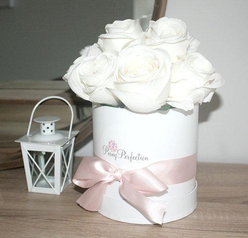 Cream Roses in White Round Box (Pink Ribbon)