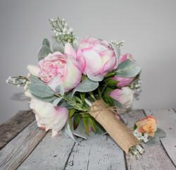 Peony Wedding Bouquet Burlap