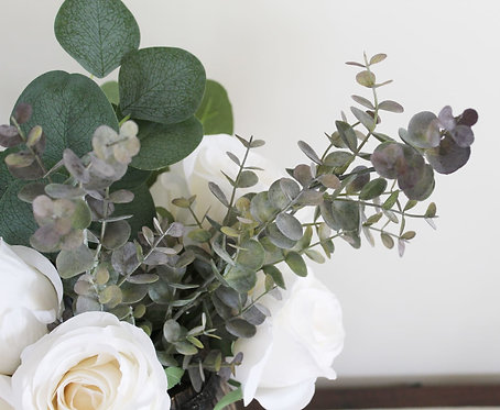 Mini Wine Barrel Centrepiece with White Flowers and Eucalyptus