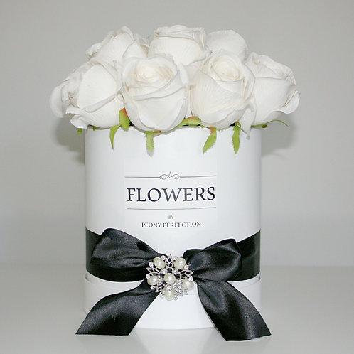 Luxury White Roses in White Round Box