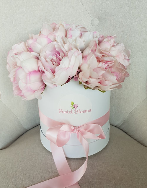 Classic Dusty Pink Peonies in White Box (NEW LOGO!)
