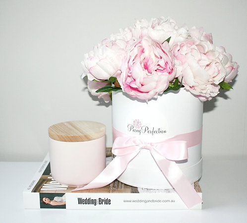 Dusty Pink Peonies in Round White Box (Pink Ribbon)