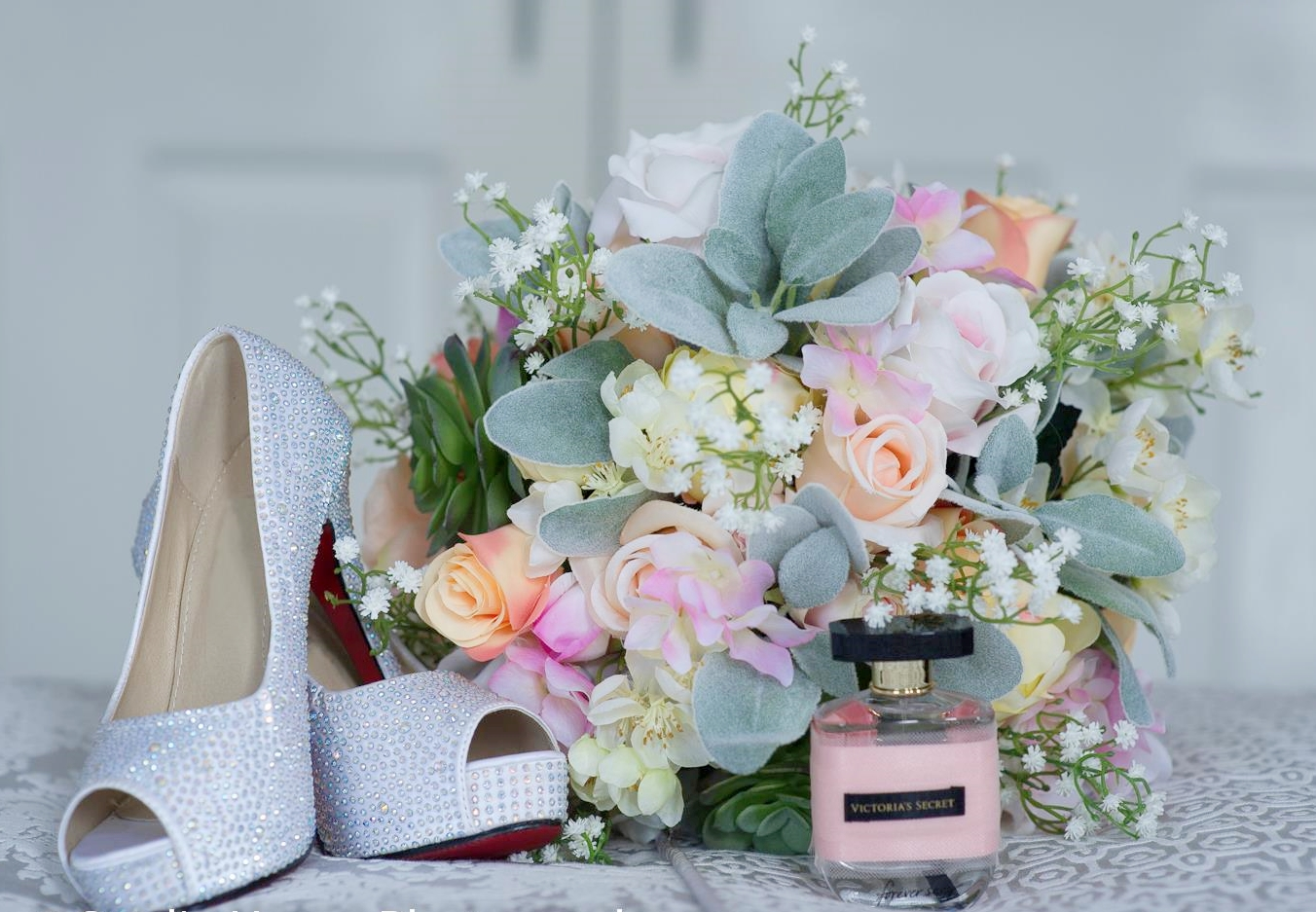 Bec's shoes, perfume and flowers