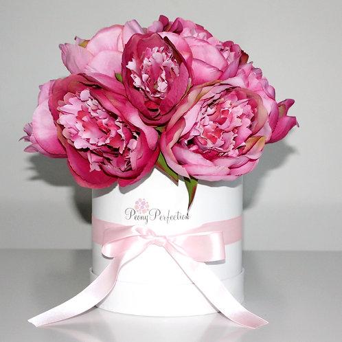 Hot Pink Peonies in White Box (Pink Ribbon)