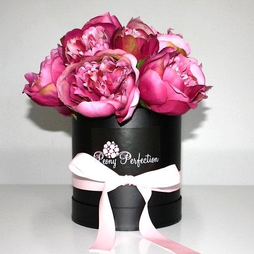 Hot Pink Peonies in Black Box (Pink Ribbon)