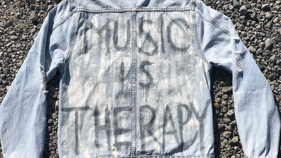 """Music Is Therapy"" Denim Jacket - L"