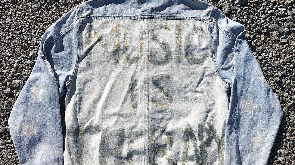 """""""Music Is Therapy"""" Denim Jacket - XL"""