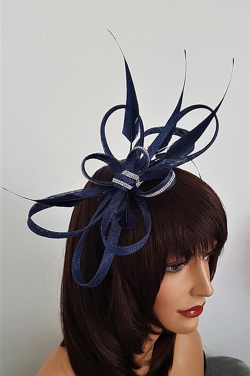 Navy Blue Sinamay Looped Fascinator with a silver Rhinestone Trim