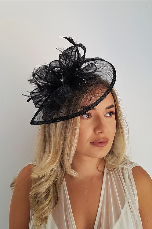 Black Teardrop Fascinator Hat on band  with silver sparle 8297366