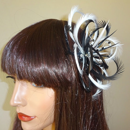 Black & Silver Looped Fascinator Comb with crystals 474858