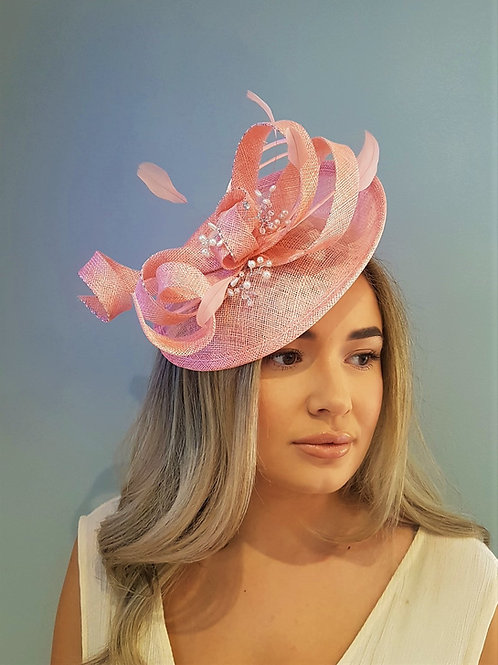 Light Coral / Flamingo Pink Hat fascinator on a band with beading