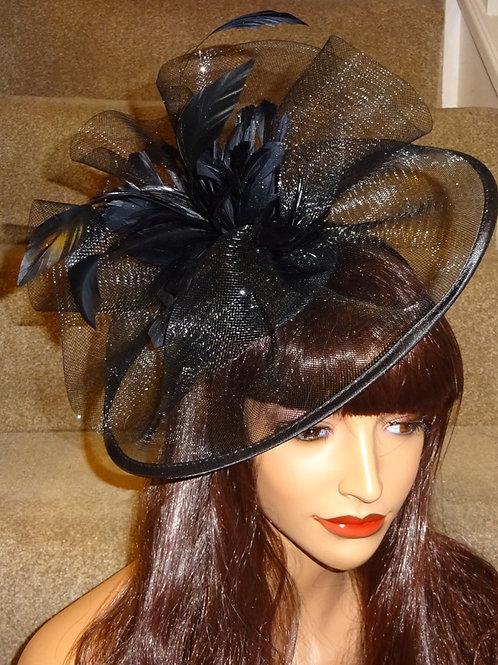 Black Crin Fascinator Hat edged in satin on band
